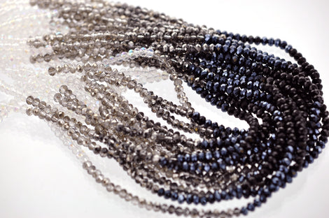 4mm Crystal Rondelle Beads, black, white, grey, silver TUXEDO MIX 4mm . about 100 beads, bgl1376