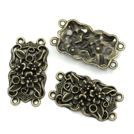 4 Antique Bronze Fancy Connector Charms Findings . 36mm x 19mm   chb0249
