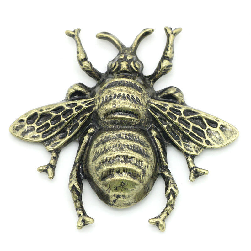 2 Antique Bronze Metal BUMBLEBEE Embellishment Cabochons. 40mm x 37mm. CAB0041