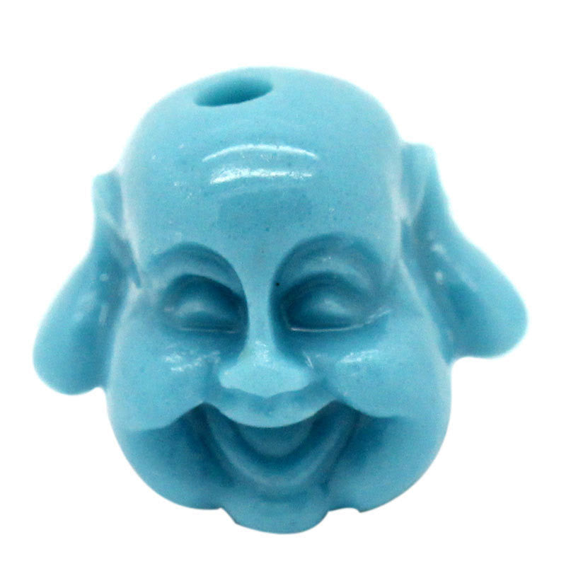 6 Small Buddha Head Beads 13mm   TURQUOISE BLUE bac0117