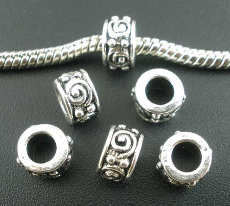 20 Antiqued Silver Tone Metal SWIRL Spacer Beads, Large Hole Euro 8mm bme0039
