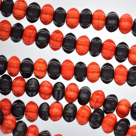 12mm BLACK and ORANGE Howlite Pumpkin Beads full strand, about 52 beads . carved howlite stone how0020