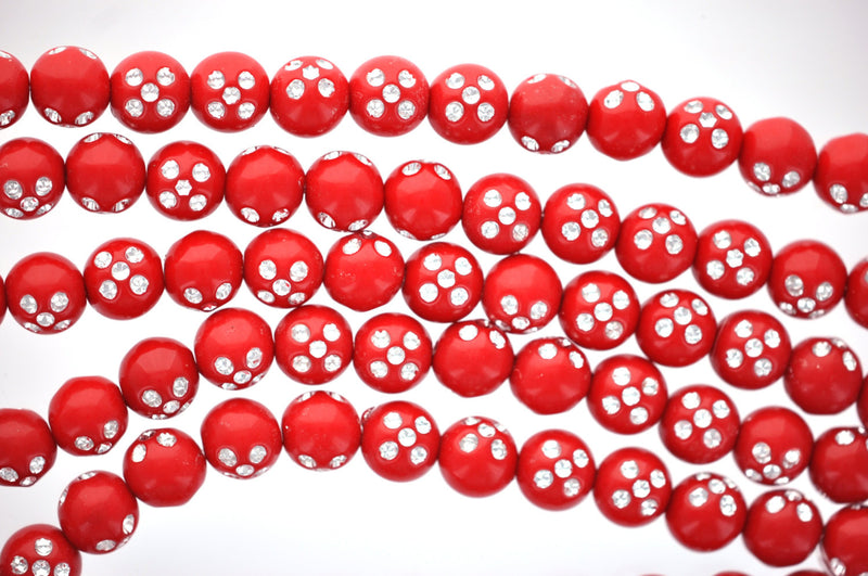 28 Beads . Solid Acrylic Round BUBBLEGUM Beads . Bright Red and Silver Sparkle 11mm bac0081