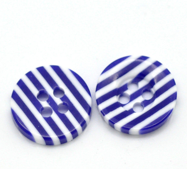 12 Round NAVY BLUE STRIPE Buttons for Jewelry Making, Scrapbooking, Sewing . 13mm . but0078