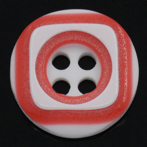 12 ROUND RED and WHITE 2-Tone Buttons for Jewelry Making, Scrapbooking, Sewing . 12.5mm  but0052
