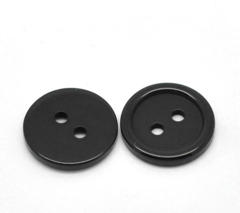 "12 ROUND BLACK Buttons for Jewelry Making, Scrapbooking, Sewing . 15mm (5/8"") but0013"