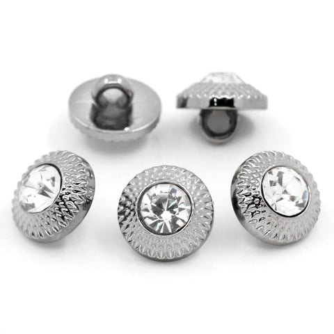 10 Gunmetal RHINESTONE Shank Buttons . acrylic . 11mm but0147