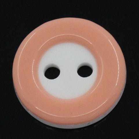 12 ROUND PEACH and WHITE 2-Tone Buttons for Jewelry Making, Scrapbooking, Sewing . 13mm  but0123