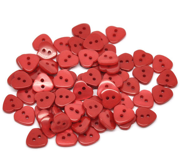 12 RED HEART Buttons for Jewelry Making, Scrapbooking, Sewing . 12mm x 11mm  but0048