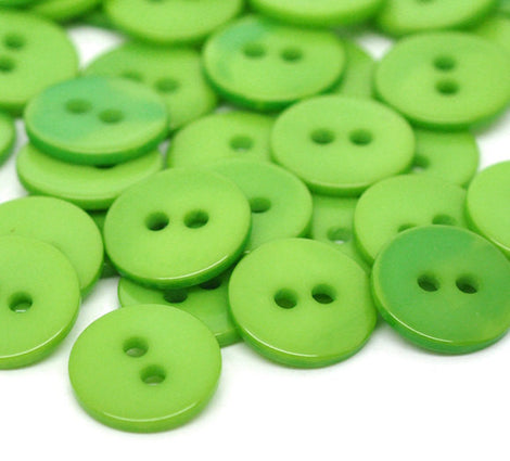 20 Round AVOCADO GREEN Buttons for Jewelry Making, Scrapbooking, Sewing . 11mm but0084