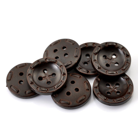 "6 ROUND Dark Brown Jumbo Resin Buttons . 25mm (1"")  but0095"