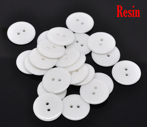 10 Round WHITE Buttons for Jewelry Making, Scrapbooking, Sewing . 23mm but0009