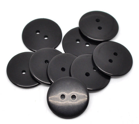 10 Round BLACK Buttons for Jewelry Making, Scrapbooking, Sewing . 23mm but0004