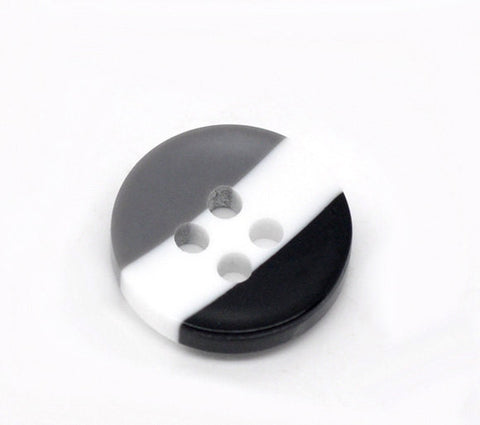 12 ROUND Black, White, Gray STRIPE Buttons for Jewelry Making, Scrapbooking, Sewing . 12mm  but0098