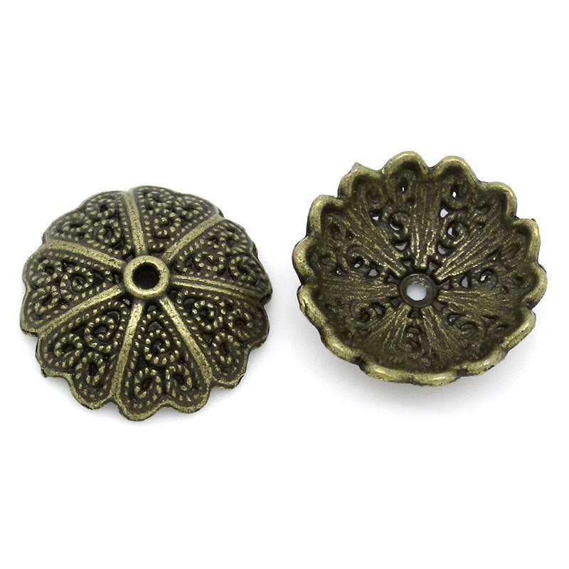 8 Antiqued Bronze Metal FLOWER BEAD CAPS  Fits 18mm - 20mm Beads fin0117a