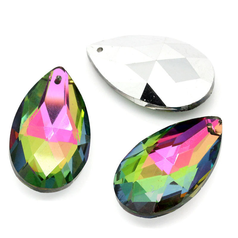 "2 Large Rainbow Mystic TEARDROP CHANDELIER DROP Charm Pendants . crystal  38mm x 22mm (1.5"" long)   bgl0559"
