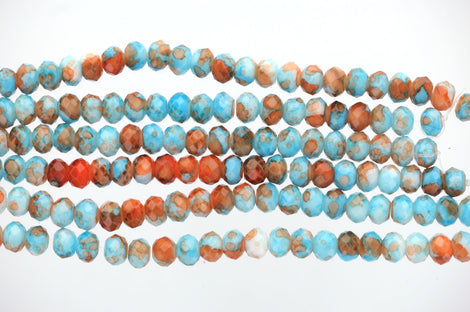 1 Strand 8x6mm Crystal Beads, Rondelle Turquoise BLUE, ORANGE, White MARBLE bgl0027