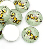 "4 BUTTERFLY PAIR Round Glass Dome Circle Seals Cabochons, 16mm (5/8"")  cab0172"