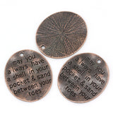 2 Stamped Copper Oval Charm Pendants, 30mm x 26mm. CHC0015
