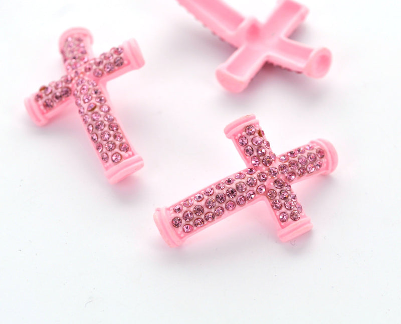 2 Pave' Rhinestone Sideways PINK CROSS Charm Connectors, pink acrylic and pink rhinestones  CHA0012