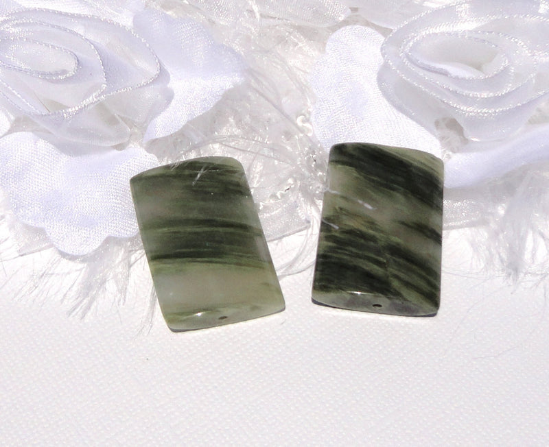 1 Large Focal Bead, Striped GREEN AGATE Rectangle Puffed Pillow Bead,  32mm x 22mm gag0089