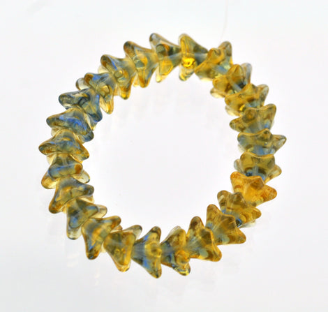 25 YELLOW and BLUE Tulip Flower Fire Polished Czech Glass Beads . 9x6mm . bgl0814