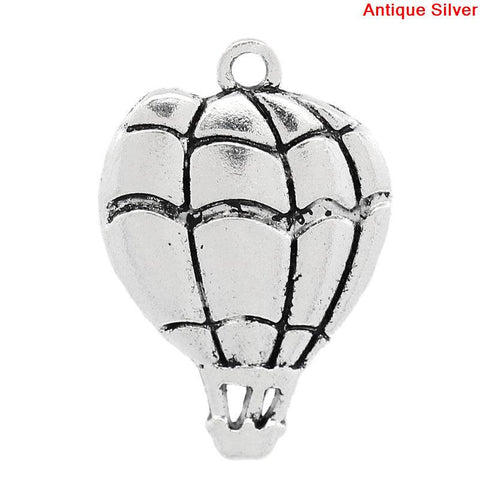 10 HOT AIR Balloon Antique Silver Tone Metal Charm Pendants . chs0275