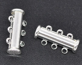 2 Magnetic 3-strand SILVER PLATED Slider Connector Clasps, 20x10mm  for Multi Strand Bracelets and Necklaces fcl0077