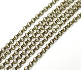 1 yard (3 feet) of Antiqued Bronze Fancy Oval ROLO Link Chain  .  soldered links are 6mm   fch0073