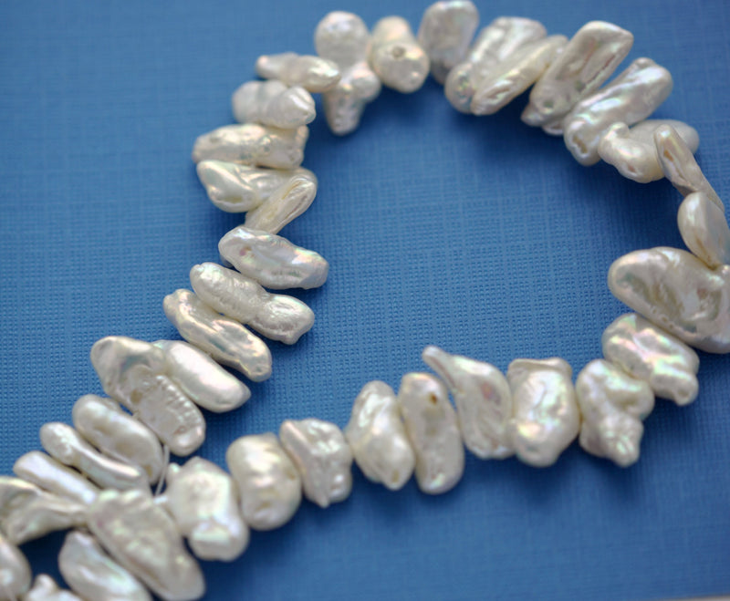 20mm to 24mm long WHITE Biwa Stick Pearls Beads, center drilled, cultured pearls, full strand gpe0030