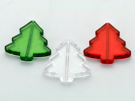6 Christmas Tree Beads, clear acrylic Lucite  40x40mm, MIXED COLORS  2 each of red, clear, green . bac0131