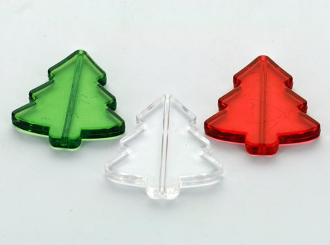 6 Christmas Tree Beads, crystal clear acrylic Lucite  40x40mm, MIXED COLORS  2 each of red, clear, green . bac0131