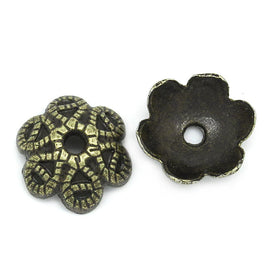 50 Dome BEAD Caps . Antique Bronze Metal 9.5mm fin0098