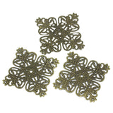 15 Brass Vintage Style Filigree Flat Square Metal Findings  FIL0023