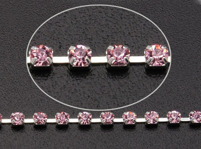 1 yard ( 3 feet ) Rhinestone Cup Chain, 2.5mm, bright silver base metal and pink glass crystals fch0180