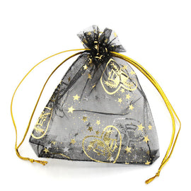 "50 Organza Bags, black with gold heart and bells, 11cm x 8cm, 4.5"" x 3.25""  bag0003"