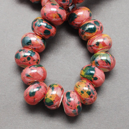 10 Large Hole Ceramic Glass Beads, 12mm x 9mm . swirly pink, blue, green,yellow, black colors  bgl0652