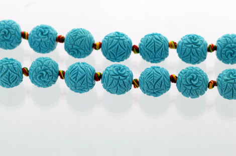 4 Carved Resin Flower Beads 15mm   TURQUOISE BLUE bac0019