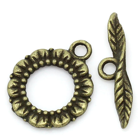 Bronze Tone Metal Toggle Clasps  DAISY Flower  5 sets  fcl0066