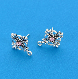 4 pair (8 earrings) filigree antiqued silver with pink rhinestone and bottom loop, post style  fin0329