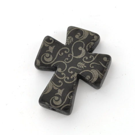 1 Laser Engraved Black Howlite Gothic Cross Pendant Beads, drilled top to bottom, 36mm x 30mm how0426