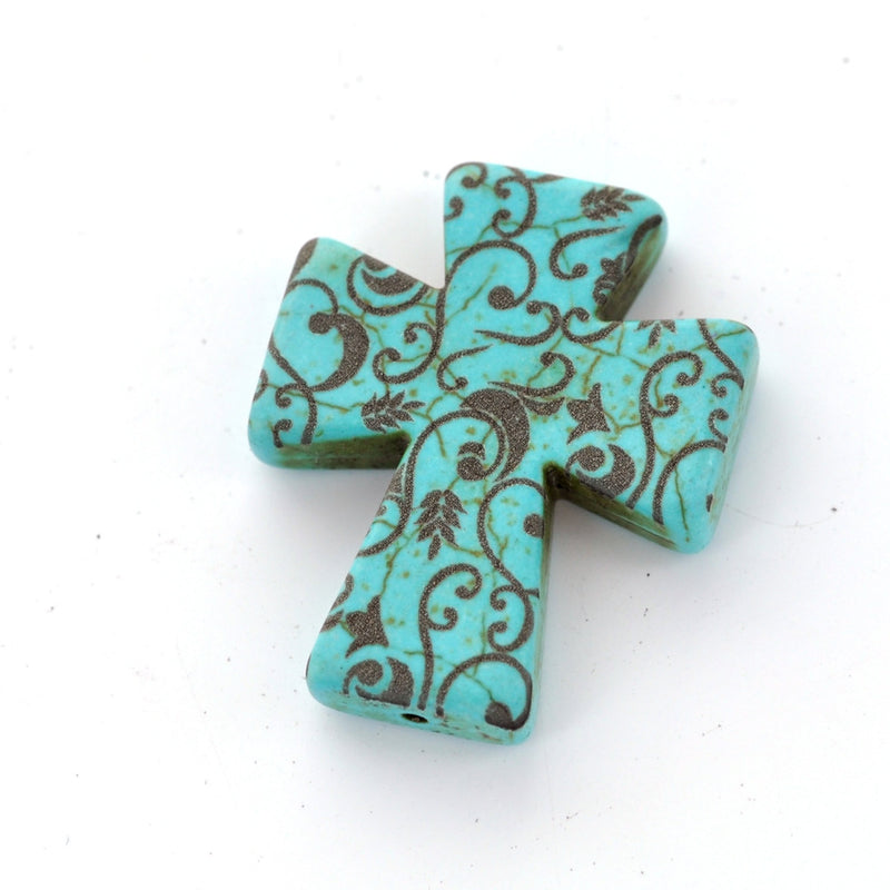 1 Laser Engraved Turquoise Blue Howlite Gothic Cross Pendant Beads, drilled top to bottom, 36mm x 30mm LAS0002
