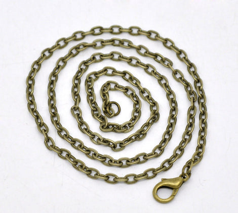 "One Dozen (12) Antique Bronze Cable Flat Link Chain Necklaces 4x2mm   16"" long  fch0075"