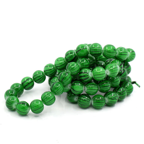 12mm Green and Black Striped Glass Beads . 30 beads bgl0280
