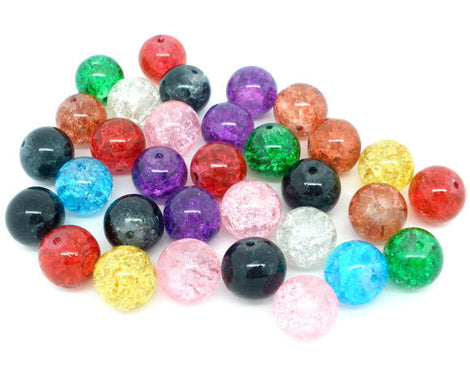12mm MIXED COLORS Round Crackle Glass Beads, 30 beads  bgl0629