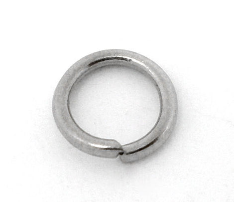 BULK 800 Silver Tone Open Jump Rings 7mm x 1mm, 18 gauge wire jum0040b