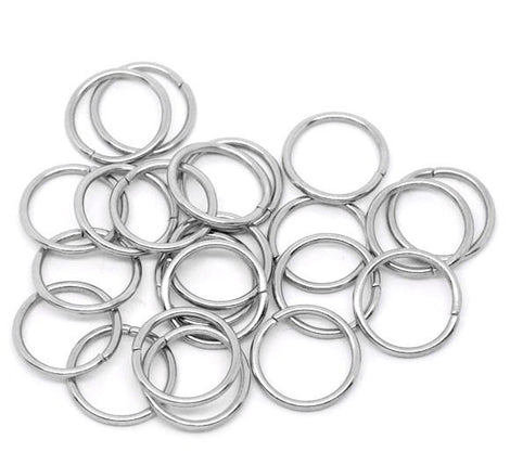 25 Large Thick Silver Tone Open Jump Rings 16mm x 1.5mm, 15 gauge wire  jum0022a
