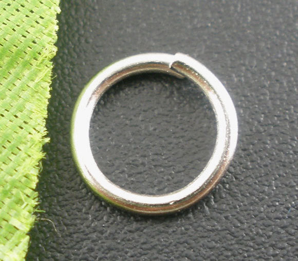 50 Silver Tone Open Jump Rings 8mm x 1mm, 18 gauge wire  jum0069a