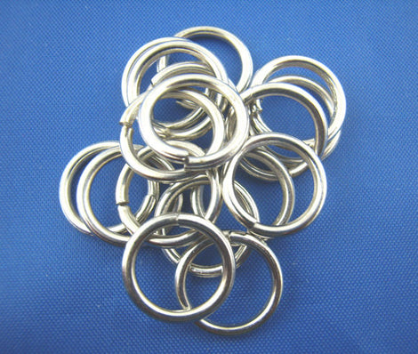 BULK 100 Large Thick Silver Tone Open Jump Rings 12mm x 1.17mm, 17 gauge wire  jum0044