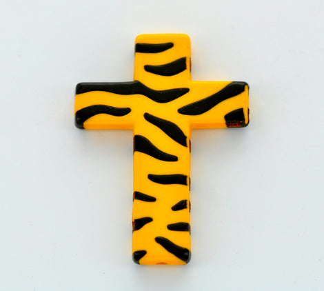 Tiger or Zebra Stripe Print Lucite CROSS beads, Golden yellow and black. 4 pc . bac0204
